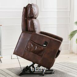 Leather Power Lift Recliner Chair Padded Chair with Remote Control for Eldly