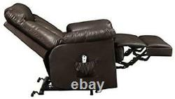 Leather Power Recliner and Lift Wall Hugger Chair Seat Electric 4-inch Clearance