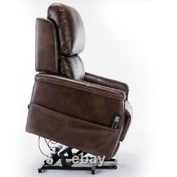 Lifesmart Brown Leather Air 3 Motor Massage and Lift Chair with Power Recline