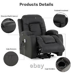 Lift Chair Massage Recliner Chair Power with Heating System Cup Holders Black