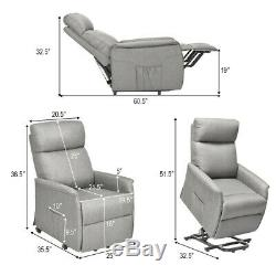 Lift Chair Recliner Remote Control Reclining Lounge Sofa Electric Power Gray New