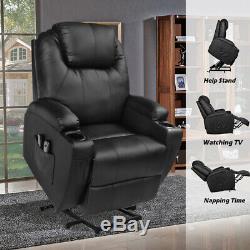 MAGIC UNION Power Lift PU Leather Recliner Sofa HeatingMassage Elderly Chair