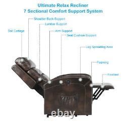 Massage Electric Power Lift Recliner Chair Oversize Heat Sofa PU Remote Control