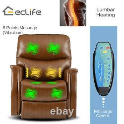 Massage Electric Power Lift Sofa Recliner Chair Oversize Heat PU Remote Control