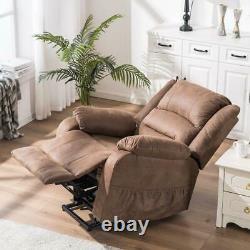 Massage Power Lift Recliner Chair Sofa Vibration Elderly Overstuffed Sofa Brown