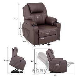 Massage Recliner Chair Electric Power Lift Sofa Single PU Leather Footrest USB