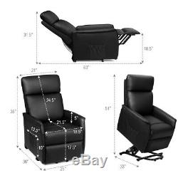 Massage Recliner Electric Lift Power Vibrating Chair withRemote Control Black