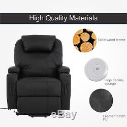 Mecor Black Power Lift Chair Leather Recliner Armchair Wall Hugger Lounge Seat