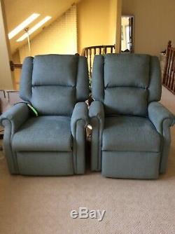 Mega Motion MM-200 Classica power lift chair, lay-flat chaise recliner. Blue