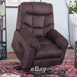 Merax Power Lift Recliner Chair Soft Fabric Living Room Sofa Chair (Espresso)