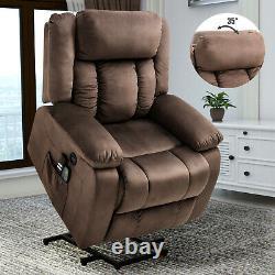 Modern Velvet Power Lift Electric Massage Chair Recliner Elder Armchair Heat USB