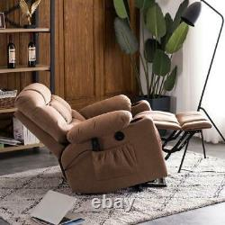 New Power Lift Recliner Massage Chair With Cup Holder Vibration Fabric Brown