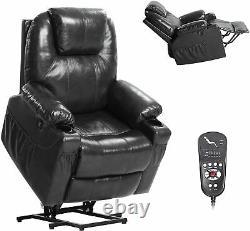 Oversize Auto Electric Power Lift Massage Chair Leather Recliner Heat Vibration