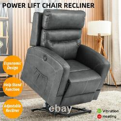 Oversize Auto Power Lift Chair Recliner Sofa with Massage Heat Vibration Remote