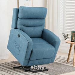 Oversize Electric Power Lift Chair Recliner Sofa Linen Massage Heat Remote Blue