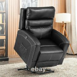 Oversize Electric Power Lift Chair Recliner Sofa with Massage Heat Remote Black