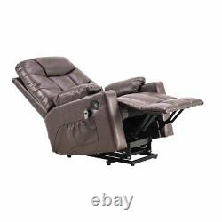 Oversize Electric Power Lift Massage Chair Leather Recliner Heat Vibration Sofa
