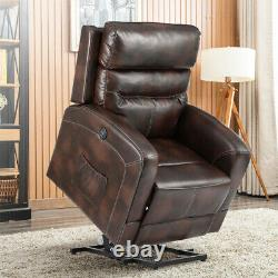 Oversize Power Lift Chair Recliner PU Sofa with Massage Heat Vibration With Remote