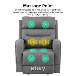 Oversize Power Lift Chair Recliner Sofa Massage Heat Vibration withRemote Gray New