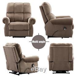 Oversize Power Lift Recliner Massage Chair withHeat vibration Elderly Light Brown