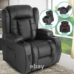 Oversized Auto Electric Power Lift Black Leather Recliner Massage Chair with RC