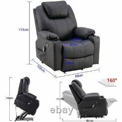 Oversized Auto Electric Power Lift Leather Massage Recliner Chair Heat Vibration