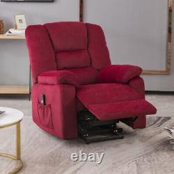 Overstuffed Power Lift Recliner Chair Velvet Sofa Padded Seat with RC for Elderly