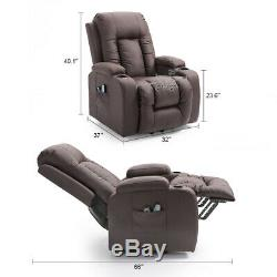 PU Leather Power Recliner Lift Chair with Massage Heat Cup Holders Home Elderly