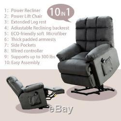 Power Electric Lift Recliner Chair Elderly Armchair Seat Lifting Mechanism Gray