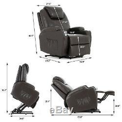 Power Leather Massage Lift Chair Ergonomic Vibrating Recline Heated Sofa Brown