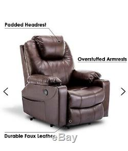 Power Lift Assist Recliner Massage Chair with Cup Holders Brown Faux Leather