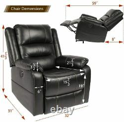 Power Lift Chair Electric Massage Recliner for Elderly Remote Control Black