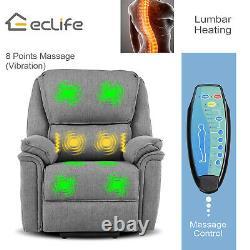 Power Lift Chair Heat Massage Recliner Vibration Overstuffed Lounge Sofa Gray