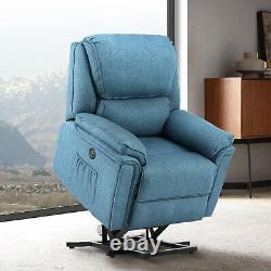 Power Lift Chair Heat Massage Recliner Vibration Overstuffed Lounge Sofa Linen