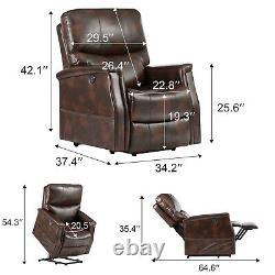 Power Lift Chair Heat Massage Recliner Vibration Overstuffed Sofa Brown PU