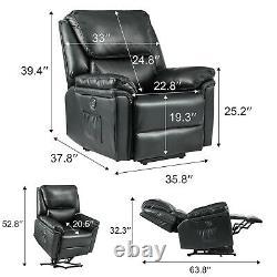 Power Lift Chair Heat Massage Recliner Vibration Overstuffed Sofa PU Black