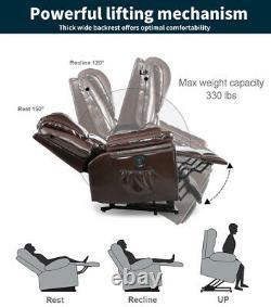 Power Lift Chair Heat Massage Recliner Vibration Overstuffed Sofa PU Brown