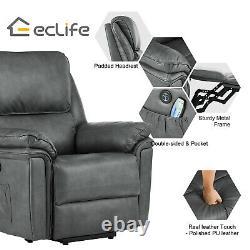 Power Lift Chair Heat Massage Recliner Vibration Overstuffed Sofa PU Gray