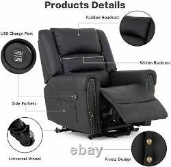 Power Lift Chair Lift Recliner for Elderly withDual Motor PU Leather Lay Flat US