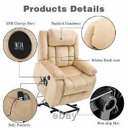 Power Lift Chair Massage Recliner Chair Adjustable Headrest Sofa Armchair Beige