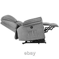 Power Lift Chair Massage Recliner Electric Sofa Heat Vibration for Elderly Gray