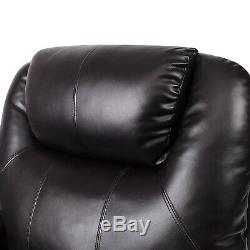 Power Lift Chair Real Leather Recliner Armchair Elderly Chair Lounge Seat Brown
