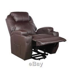 Power Lift Chair Recliner Armchair Sofa Real Leather Elderly Chair Seat Brown EK
