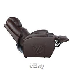Power Lift Chair Recliner Armchair Sofa Real Leather Elderly Chair Seat Brown US