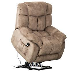 Power Lift Chair Recliner Overstuffed Fabric 20W Padded Seat Lounge Sofa with RC