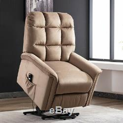 Power Lift Chair Recliner Suede Sofa Fabric Padded Overstuffed with Remote Brown