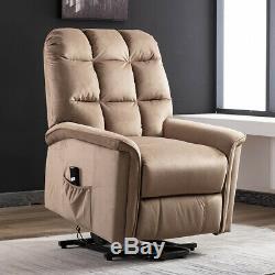 Power Lift Chair Recliner Velvet Fabric Padded Overstuffed with RC for Elderly