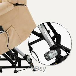 Power Lift Electric Massage Chair Recliner Elder Armchair Heat USB Velvet Beige