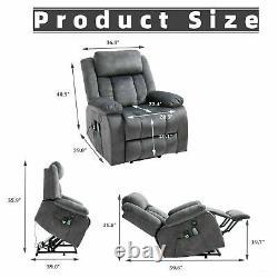 Power Lift Electric Massage Chair Recliner Elderly Armchair Heat USB Velvet Grey