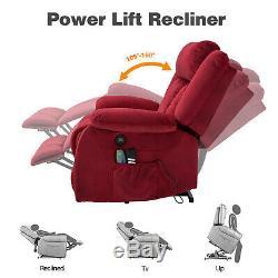 Power Lift Electric Massage Chair Recliner Elderly Armchair Heat USB Velvet Red